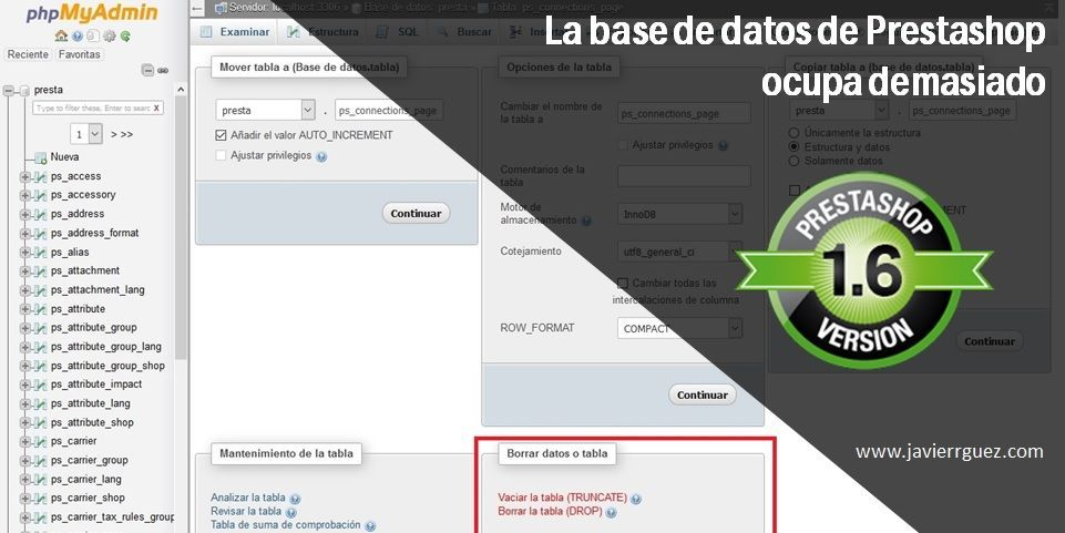 La base de datos de Prestashop ocupa demasiado