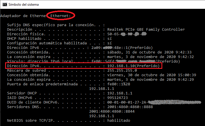 datos de red en ipconfig